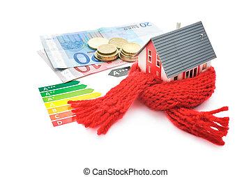 casa, energía, eficiencia, concepto