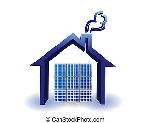 casa, energía, paneles, solar