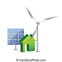 casa, energia, conceito, poupar