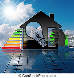 casa, energia, -, eficiência, painel solar