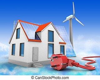 casa, energia, modernos, solar, vento, 3d