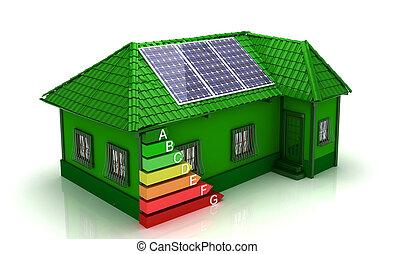 casa, energia, poupar, conceito