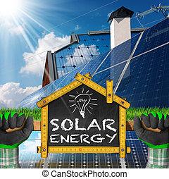 casa, energia, -, progetto, ecologico, solare