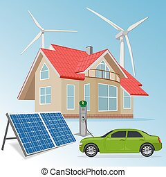 casa, energia, rinnovabile, fonti