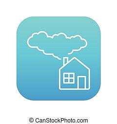 casa, energia, salvar, linha, icon.