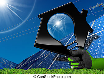 casa, energia, -, solar, bulbo leve