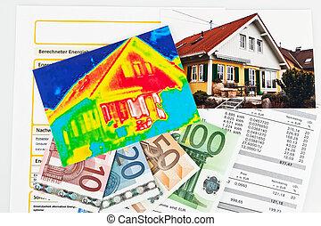 casa, energia, térmico, câmera, imaging, savings.