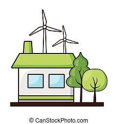 casa, energia, turbinas, vento