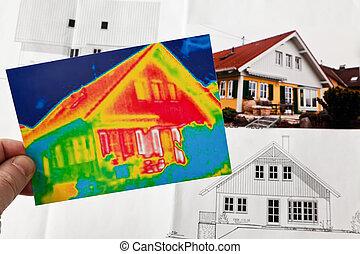 casa, energy., termico, macchina fotografica, imaging, ...