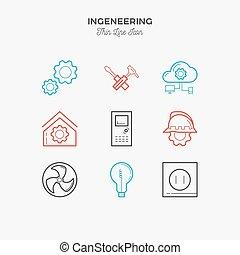 casa, engenharia, construção, desenho, icons.