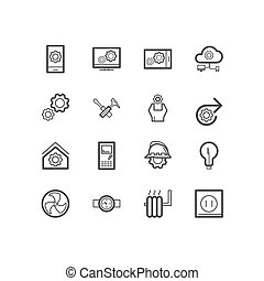 casa, engenharia, construção, icons.