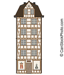 casa, engraçado, ve, ilustração, caricatura