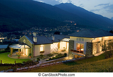 casa, enorme, tramonto, lusso, nuovo