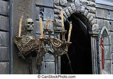 casa, entrada, assombrado