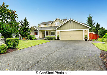 casa, entrada carro, exterior, garagem