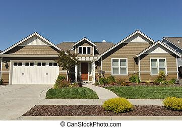 casa, entrada de coches, familia , dos, solo, historia