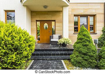 casa, entrada, modernos, elegante