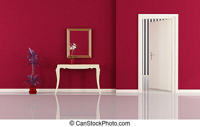 casa, entrata, rosso