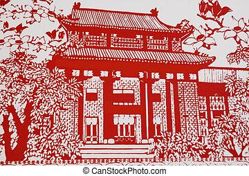 casa, es, un, imagen, de, el, chino, papel, cutting.,...