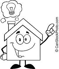 casa, esboçado, bom, idéia