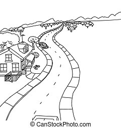 casa, esboço, árvores, desenho
