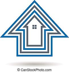 casa, esboços, logotipo