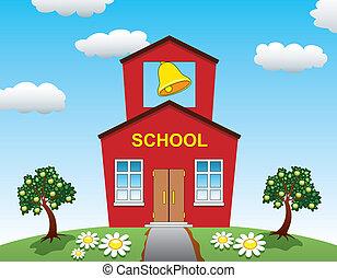 casa, escuela, manzana, árboles