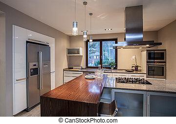 casa, -, espaçoso, travertine, cozinha