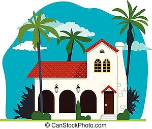 casa, español, colonial