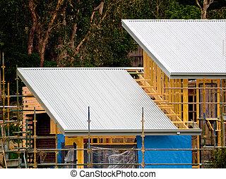 casa, estaño, construcción, techo