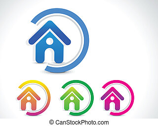 casa, Estratto, vettore, bottone, icona