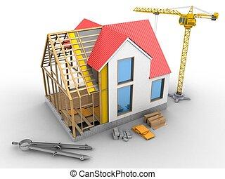 casa, estrutura, 3d