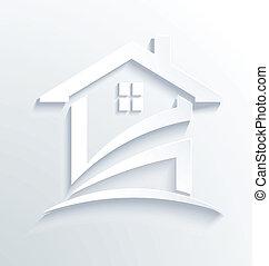 casa, etichetta, assegno, logotipo, vettore