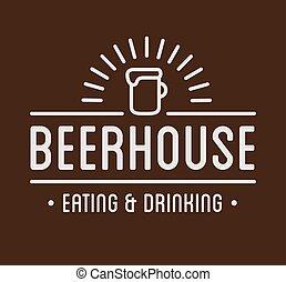 casa, etichetta, birra, nero, logo., template.