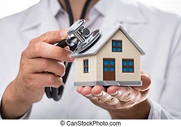 casa, examinar, modelo, estetoscopio, doctor