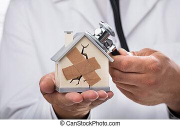 casa, examinar, roto, estetoscopio, doctor