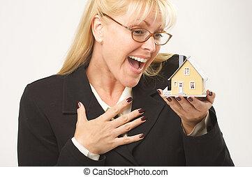 casa, excitado, hembra, tenencia