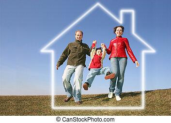 casa, executando, sonho, família