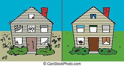 casa, exterior, después, antes