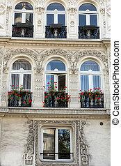 casa, fachada, parís, montmartre., francia, balcón