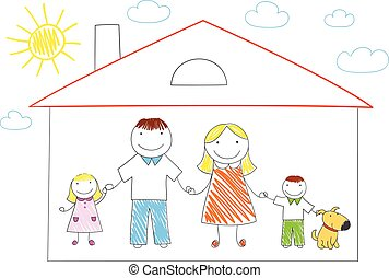 casa, família feliz, novo