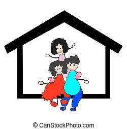 casa, famiglia, felice