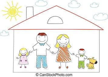 casa, famiglia felice, nuovo