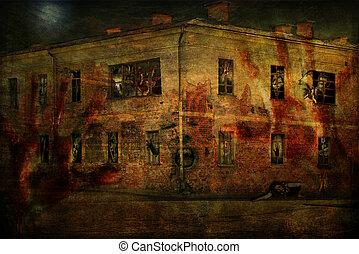 casa, fantasmas, viejo