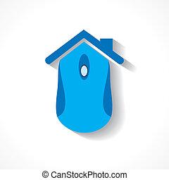casa, fare, mouse elaboratore, icona