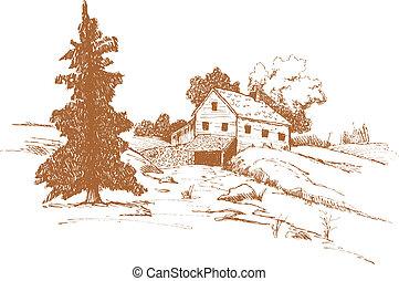 casa fattoria, vecchio, paesaggio