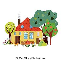 casa fazenda, campo, caricatura