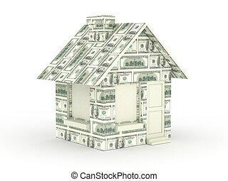 casa, feito, com, cem conta dólar