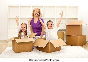 casa, felice, spostamento, nuovo, persone