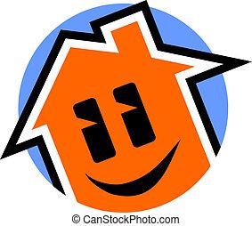 casa, feliz, ícone
